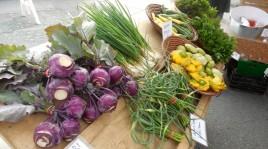 Kohlrabi, garlic scapes, pettypan squash