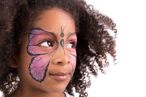 Face Painting of a butterfly on young girl