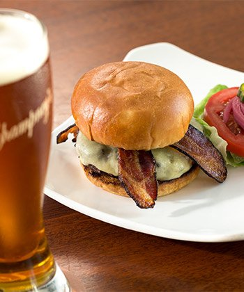 Champneys bacon burger with beer