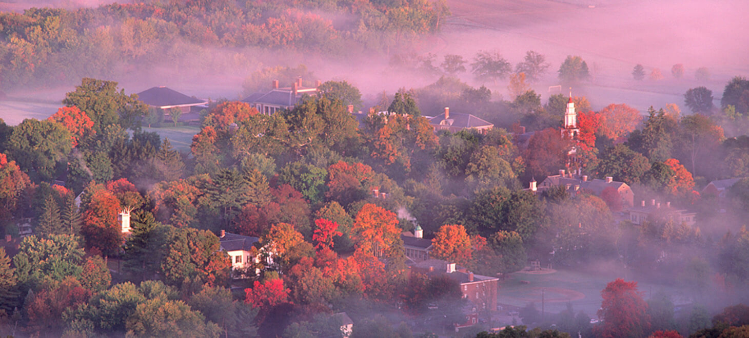 Deerfield misty overview during the fall