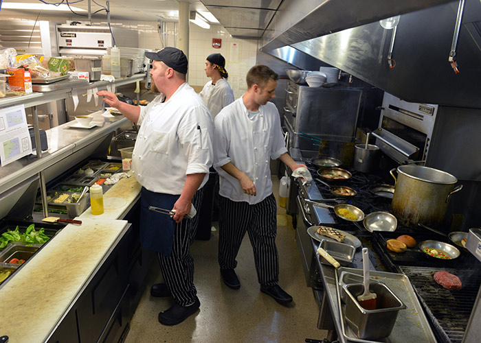 Chefs in the kitchen at Champney's Restaurant