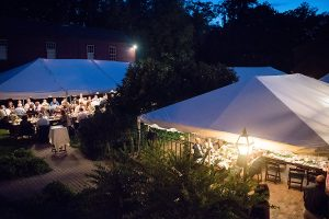 Outdoor wedding reception tents