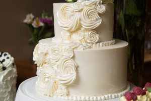 Wedding cake with white roses