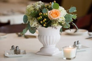 Flower centerpiece at a wedding