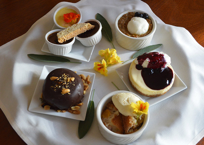 Table with dessert foods