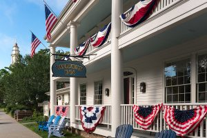Deerfield Inn with patriotic flag decorations