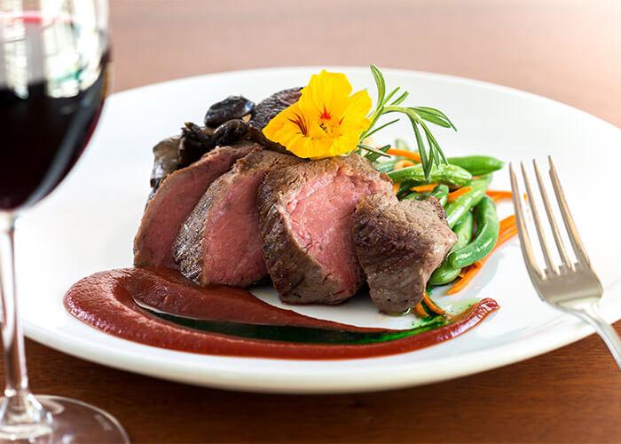 Steak dinner with wine