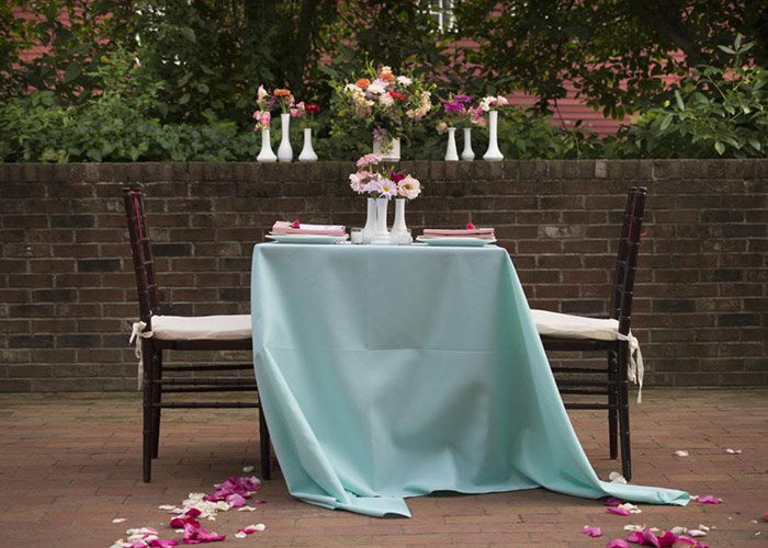 Wedding table set for two