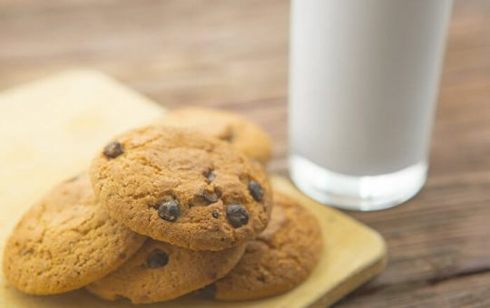 Plate of cookies and a glass of milk